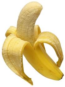 one half peeled banana