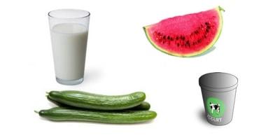 watermelon yogurt milk cucumber mask